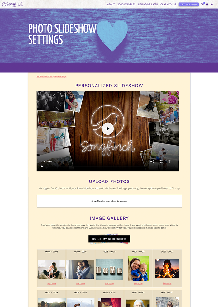 Songfinch Personalized Photo Slideshow Dashboard